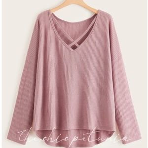 PLUS Long Sleeve Waffle-Knit Top